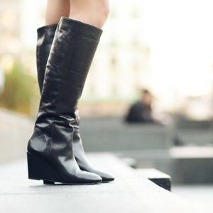"""Loeffler Randall """"Sophie"""" Black Wedge Boots"""